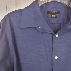 STRUCTURE Longsleeve Button Down Shirt Large Blue